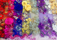 Luxury Guipure 3D Flower Lace Fabric For Apparel 135cm Width Purple